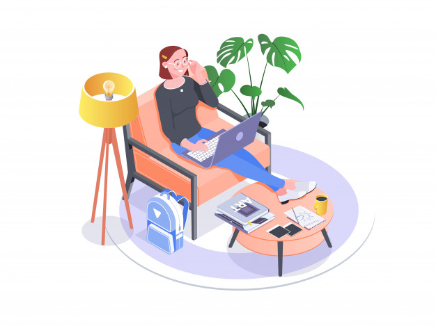 person working in home